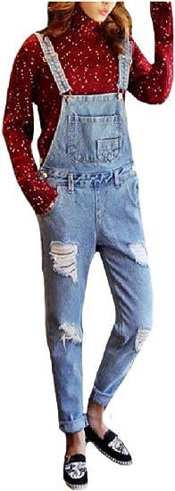 EnergyWD 女性ルーズフィットヴィンテージホールレジャーカジュアルジーンズデニムオーバーオールパンツ