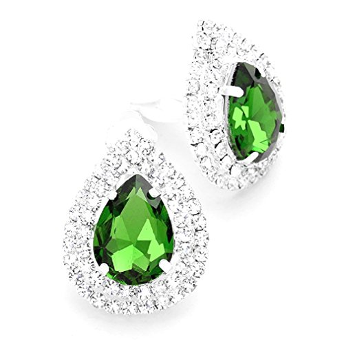 Emerald Green Rhinestone Crystal Clip on Big Stud Silver Earrings Drag Queen Pageant Show Girl
