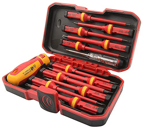 13pcs VDE Insulated Screwdriver Interchangeable Set in Case Magnetic 1000V