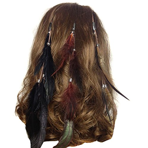 Set of 3 Handmade Boho Hippie Hair Extensions with Feather Clip Comb Headdress Hairpin DIY Accessories for Women Lady Girls