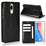 Huawei Mate 10 Lite Case,iCoverCase Genuine Leather Wallet Case [Slim Fit] Folio Book Design with Stand and Card Slots Flip Case Cover for Huawei Mate 10 Lite (5.9 inch)(Black)