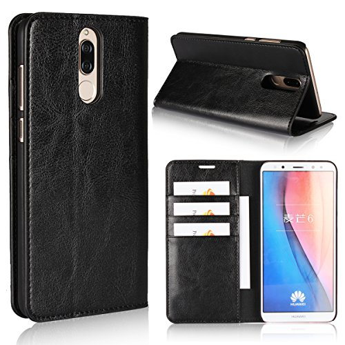 Huawei Mate 10 Lite Case,iCoverCase Genuine Leather Wallet Case [Slim Fit] Folio Book Design with Stand and Card Slots Flip Case Cover for Huawei Mate 10 Lite (5.9 inch)(Black) by iCoverCase