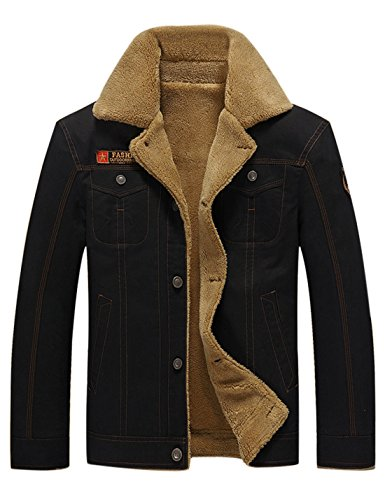 Gihuo Men's Sherpa Fleece Lined Winter Warm Jacket with Fur Collar (Small, Black) (Outback Pathfinder Jacket)