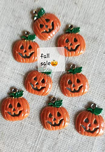 Hand Painted Halloween Pumpkins (New Fall Sale Fall Pumpkin Charms for jewelry Making, Halloween Jack O Lantern Charm, Fall Bracelet Pumpkins Charms, Halloween Earring)