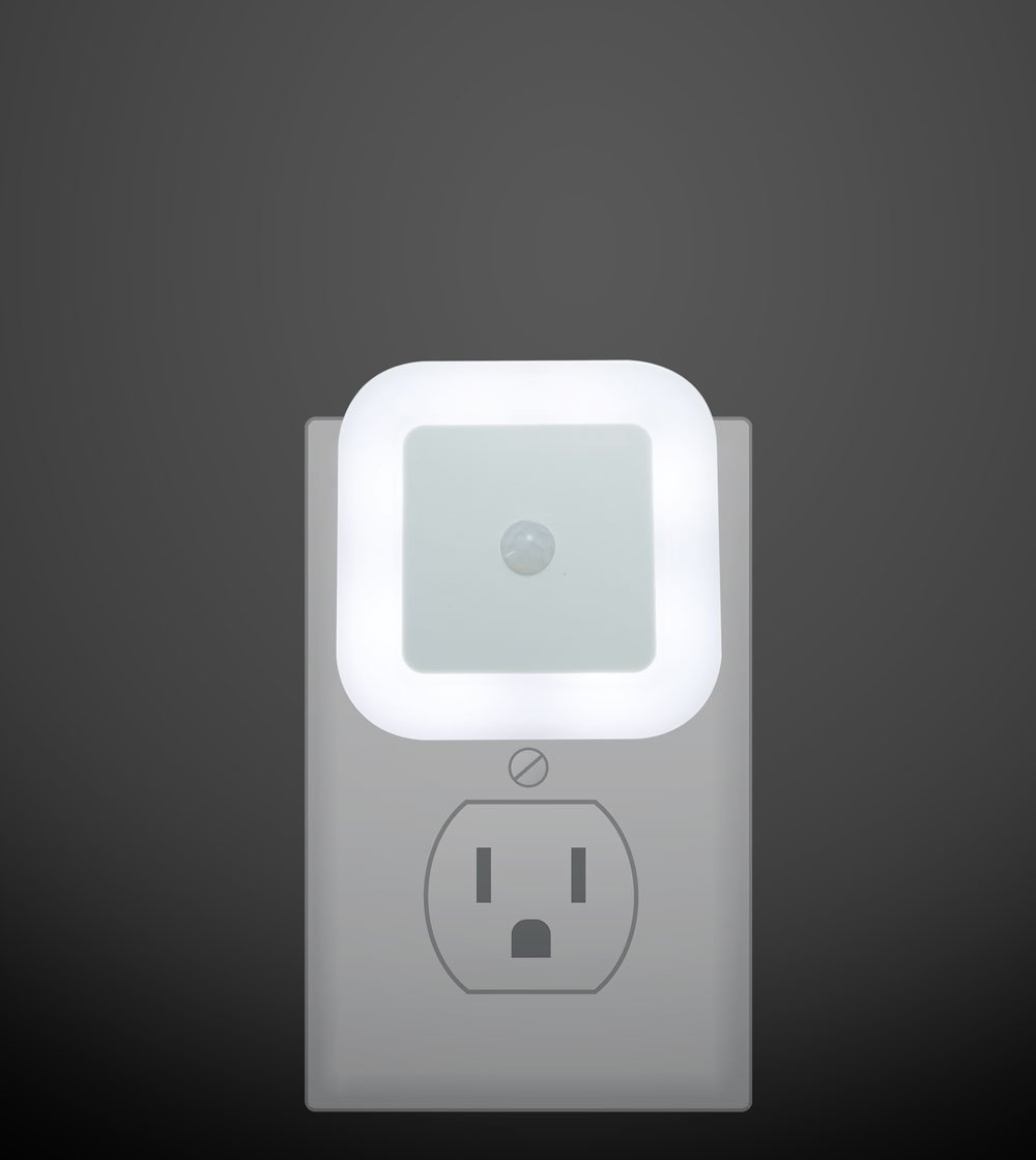 Plug in LED Motion Sensor Light, Motion Activated Night Light, 2 Pieces - Perfect for Stairway, Bathroom and Hallway (White Glow)
