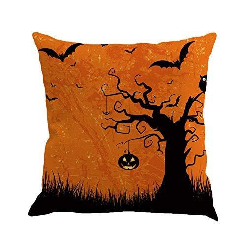 (FaceBB Happy Halloween Pumpkin Castle Linen Pillow Cushion Cover Home Decor Pillowcase Home Cover Square)