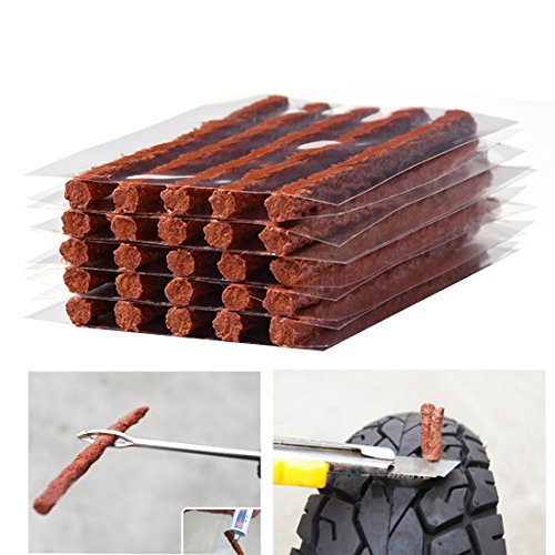 Plug Tire Repair (Firwood Flat Tire Plug Puncture Repair Strings, Tyre Repair Rubber Sealing Strip 8.5'' Extra Length for Off-Road Car Bike Motor ATV UTV SUV Wheelbarrow Mower 25PCS (Flat Tire Plug String))