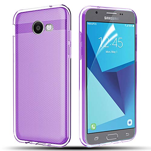 (Phone Case for Samsung Galaxy J7 V / J7 2017 / J7 Prime / J7 Perx / J7 Sky Pro/Galaxy Halo Case, Ultra [Slim Thin] TPU Rubber Soft Skin Silicone Protective Case Cover-Purple)