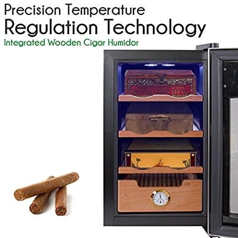 NutriChef Cigar Cooler Humidor - Thermoelectric Stainless Steel Wine & Cigar Cooler Refrigerator with Clear Glass Door - Wine Bar Fridge Combo - Humidity Control to Prevent Mold & Stale Stogies