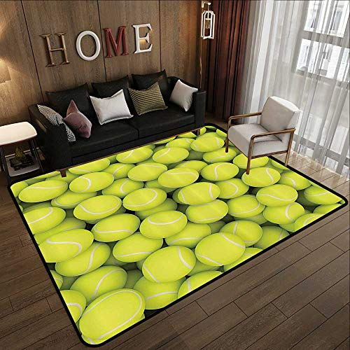 Fit Custom Match (Custom fit Floor mats,Sports Decor Collection,Heap of Tennis Balls Hobby Happiness Leisure Competitive Match Lifestyle Picture Pattern,Yellowg 78.7