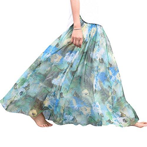 Long Skirt Floral Womens Nlife Retro Maxi Print Bohemian Flower1 Chiffon FPBFTwqx0