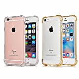 [2Pack] CaseHQ case for iPhone 6S Plus,iPhone 6 Plus,Crystal Clear Enhanced Grip Protective Defender Cover Soft TPU Shell Shock-Absorption Bumper Anti-Scratch Air Cushioned 4 Corners(Clear+Gold)