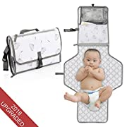 Portable Baby Diaper Changing Pad – Stars Wish infant Waterproof Foldable Changing Station with Cushioned Changing Mat and Wipes Case for Traveling and Outdoors, Newborns and Toddlers
