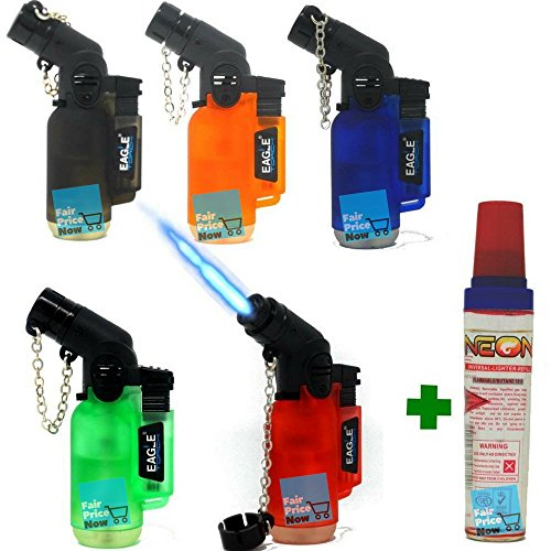 Eagle Lighter - 5Pack Angle Eagle Jet Flame Butane Torch Lighter Refillable Windproof+FREE Colibri butane