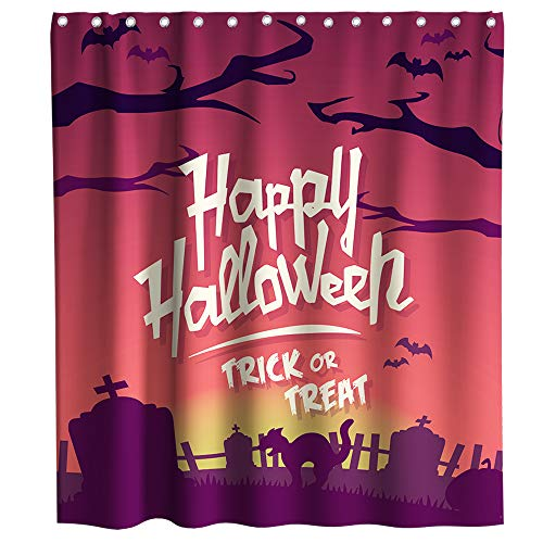 Halloween Decor Dark Graveyard Shower Curtain Nightmare Before Christmas Theme Fabric Bathroom Decorative Sets with Hooks Waterproof Washable 70 x 70 inches Black red