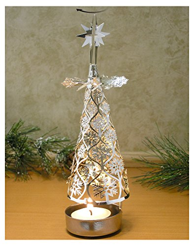 Spinning Christmas Tree Candle Holder with Snowflakes Scandinavian Design by Banberry Designs