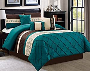 JBFF Oversize 7 Count Luxury Embroidery Bed in Bag Microfiber Comforter Set, Teal, King