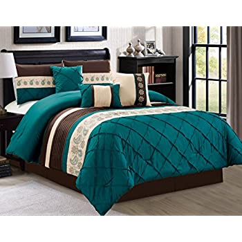 Style Of JBFF Oversize 7 Count Luxury Embroidery Bed in Bag Microfiber forter Set Teal Cal New - Simple Elegant cal king bed sheets Beautiful