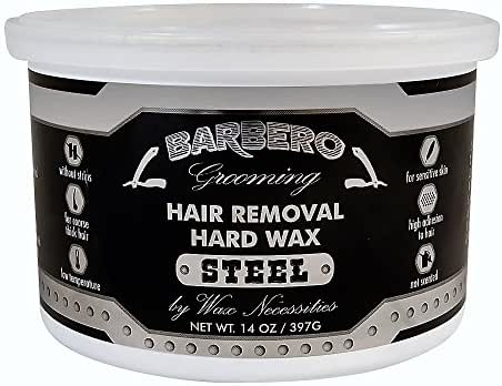 Wax Necessities Barbero Depilatory Hard Wax Steel for Men 14 Ounces