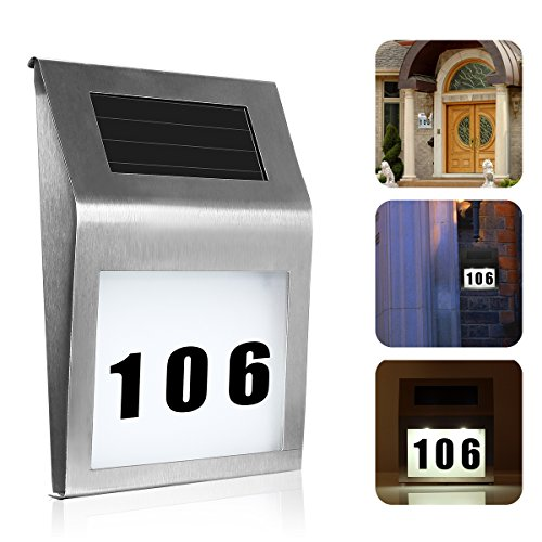 oenbopo Solar Lighted Address Sign House Number, Led Illuminated Home House Address Door Number Light Wall Plaque Doorplate for Home Garden