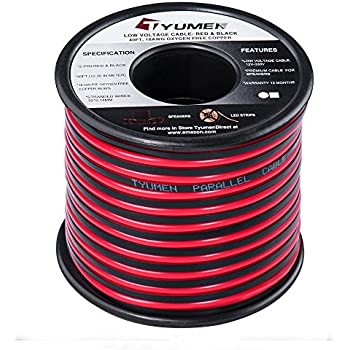 Twin Hook Up Red// Black 12V DC AWG Car Home Audio Speaker Wire Cable Conductor