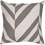 Surya FA-035 Hand Crafted 80% Wool / 20% Cotton Winter White 18'' x 18'' Geometric Decorative Pillow by Surya