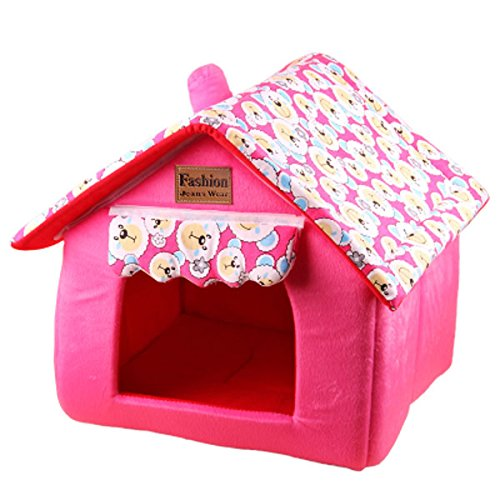 Pet Foldable House Dog Cat Bed Washable Pet Tent Puppy Bed (S: 12.5″x12.5″x14.1″, Pink)