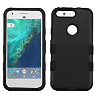 Asmyna Cell Phone Case for Google Pixel - Rubberized Black/Black