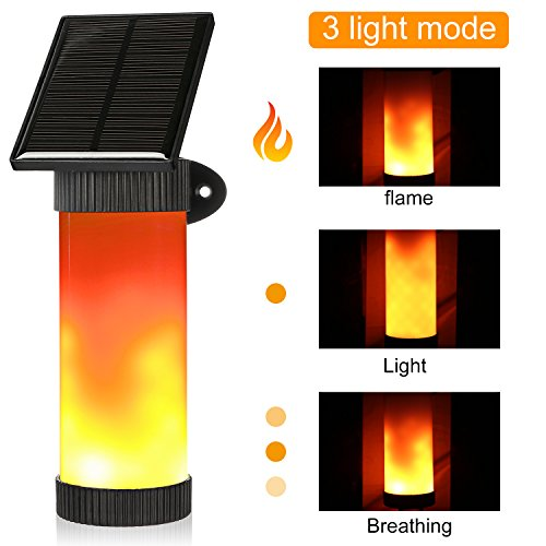 Solar Powered Wall Lights, Guaiboshi Waterproof Flickering Dancing Flame Light Outdoor Built-in Night Sensor Auto on/off Security Garden Light,102 LED Solar Torches Lighting for Patio Yard Door Stairs