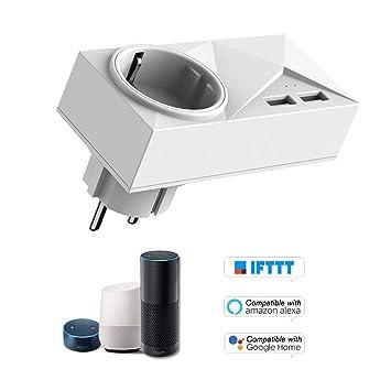 Control de Voz Compatible con  Alexa para Google Home//IFTTT Cigopx Enchufes Inteligentes Mini enchufes WiFi 2 Puertos USB Socket Inteligente con Control de energ/ía y funci/ón de sincronizaci/ón