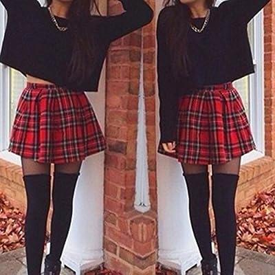 Exteren Womens High Waisted Scotland Plaid A-Line Pleated Mini Skirt School Uniform