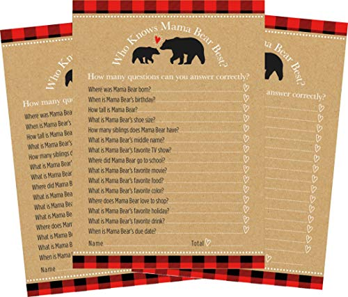 Who Knows Mama Bear or Mommy Best - Buffalo Plaid Woodland Themed Baby Shower Game - 24 count