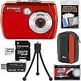 Polaroid iS048 Waterproof Digital Camera (Red) with 16GB Card + Case + Tripod + Kit