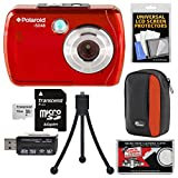 Polaroid iS048 Waterproof Digital Camera (Red) with 16GB Card + Case + Tripod + Kit