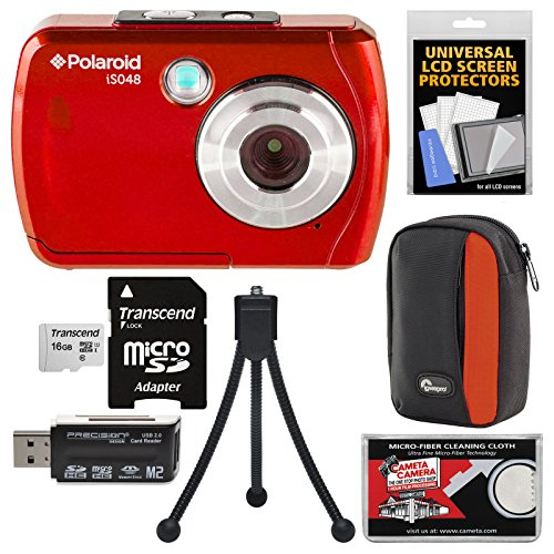 Polaroid iS048 Waterproof Digital Camera (Red) with 16GB Card + Case + Tripod + Kit by Polaroid
