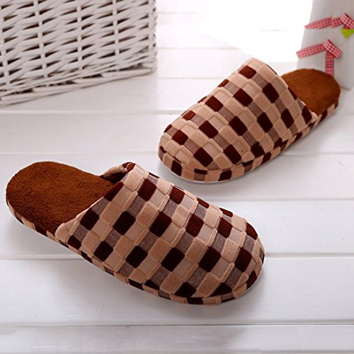Ikevan Winter Warm Cotton Slippers Home Shoes Non-slip Soft Couples Cotton Slippers Brown 4Q3ar