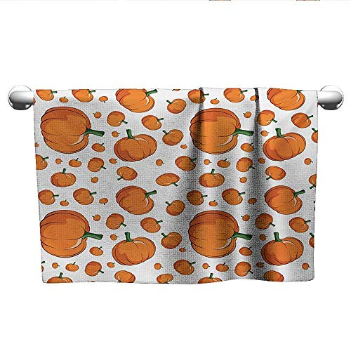 alisoso Harvest,Shower Towel Halloween Inspired Pattern Vivid Cartoon Style Plump Pumpkins Vegetable Bath Towels for Kids Orange Green White W 10