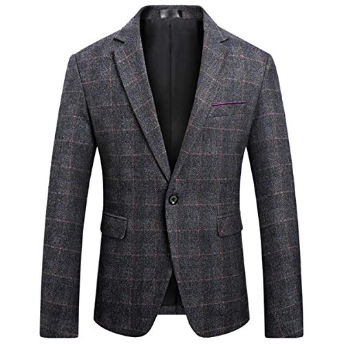 Men's Classic Plaid Sport Coats Casual One Button Single Breasted Notched Lapel Checked Suit Jacket Dark Gray ()