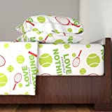 Roostery Tennis 4pc Sheet Set Love Means Nothing- Green by Audreyclayton King Sheet Set made with