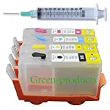 green-products Refillable (Empty) Cartridges for HP 920, HP 920XL, Auto Reset Chips (ARC) for OfficeJet 6000, OfficeJet 6500, OfficeJet 6500a, OfficeJet 6500a Plus, OfficeJet 7000, OfficeJet 7500a