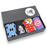 Fun Novelty Crew Sock,Funcat Mens Art Patterned Casual Dress Father's Day Gift