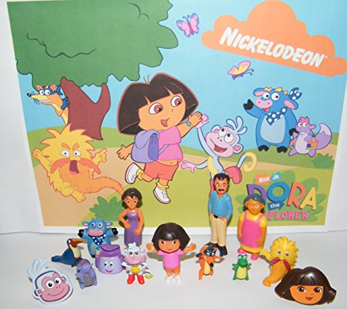 Dora And Friends Cake (Dora The Explorer and Friends Deluxe Party Favors Goody Bag Fillers Set of 14 with 12 Figures and 2 ToyRings Featuring Dora, Boots, Backpack, Grandma, Mom and)