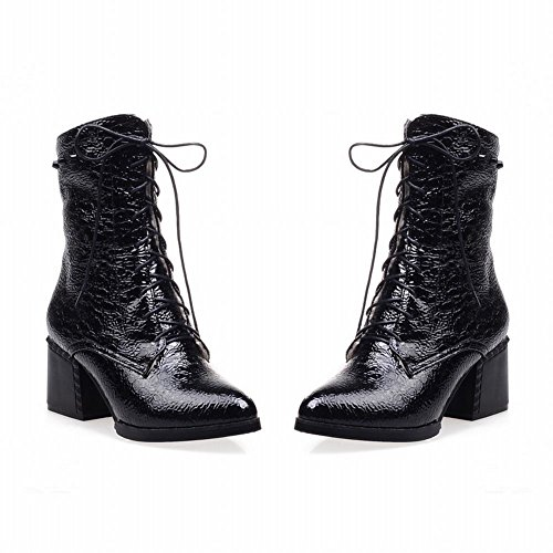 Carolbar Womens Zipper Lace up Fashion Comfort Chunky Mid Heel Riding Motorcycle Boots Black GeBNB