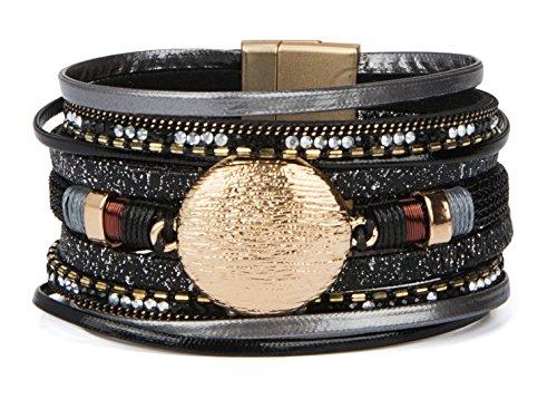 Bangles Diamond Vintage Black (SPUNKYsoul New! Boho Bracelet Multi Strand Leather with Magnet Clasp for Women Collection (Black Disc))