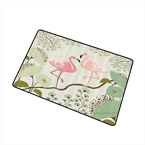 Mdxizc Throwing mat Wildlife Decor Collection Blossom Floral Background with Pair of Flamingos Painting W16 xL20 Non-Slip Backing Teal Pink Beige