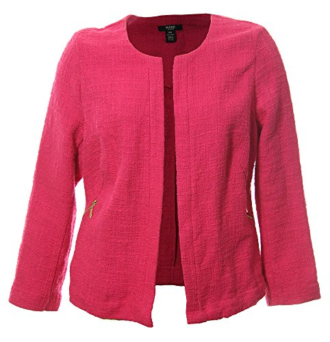 Alfani Women's Plus Long Sleeve Open Front Tweed Jacket Hot Magenta (16w)