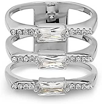 925 Sterling Silver Women's Crystal Baguette Fashion Ring