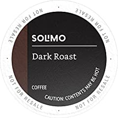 Solimo Dark Roast coffee k-cup pods are made with 100% Arabica beans and have a full, bold flavor. Compatible with 1.0 and 2.0 k-cup brewers, make your cup to order with Solimo coffee pods.