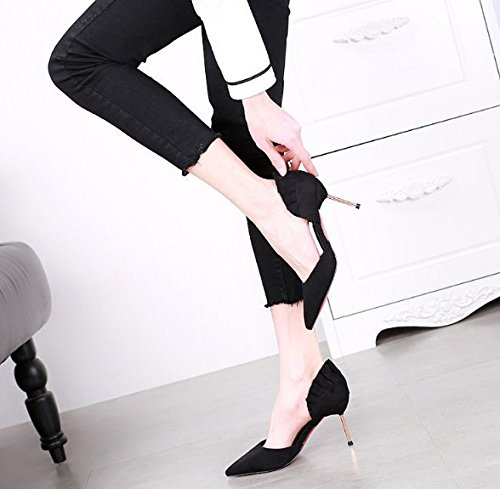 Shoes Leisure Metal Side Work With High 8Cm Spring 37 Lady Thin MDRW Shoes Heels Match All Empty Black Elegant Cq16wg
