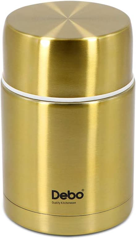 Vacuum Insulated Food Jar, Stainless Steel Food Thermos (Gold, 750ml) Lunch Insulation Pot for Hot Food, Leak Proof Insulated Food Flasks, Insulation Pot for School, Picinic, Office Workes